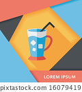 iced drink flat icon with long shadow,eps10 16079419