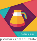 coffee kettle flat icon with long shadow,eps10 16079467