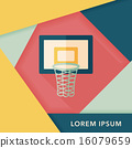 basketball flat icon with long shadow,eps10 16079659