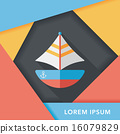Transportation sailboat flat icon with long shadow,eps10 16079829