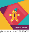 gingerbread man flat icon with long shadow,eps10 16080065