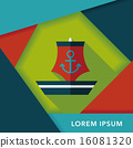 Sailboat flat icon with long shadow,eps10 16081320