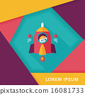 Space rocket and astronaut flat icon with long shadow,eps10 16081733