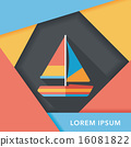Transportation sailboat flat icon with long shadow,eps10 16081822