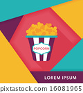 Popcorn flat icon with long shadow,eps10 16081965