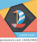 Sailboat flat icon with long shadow,eps10 16082068
