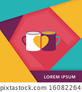Valentine's day cup flat icon with long shadow,eps10 16082264