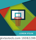 basketball flat icon with long shadow,eps10 16082286