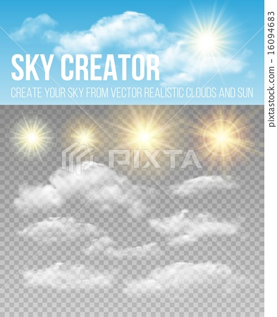 Stock Illustration: Sky creator. Set realistic clouds and sun. Vector illustration