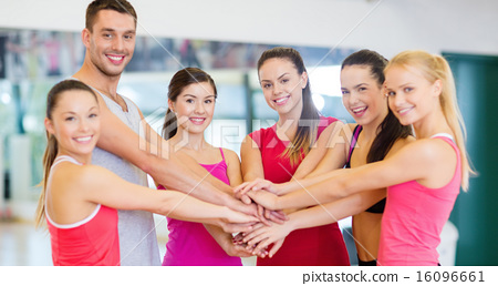 Stock Photo: group of people in the gym celebrating victory