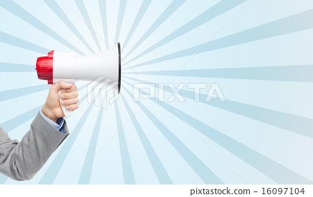 Stock Photo: business man hand holding megaphone