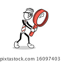 Cute cartoon businessman with magnifying glass 16097403