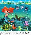 Mermaid with funny animals on the sea floor 16108481