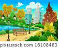 Urban scenery in a natural garden 16108483