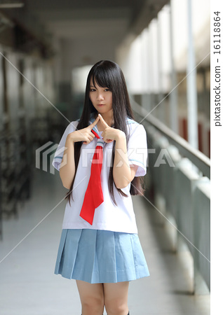 Asian school girl - Stock Photo [16118864] - PIXTA