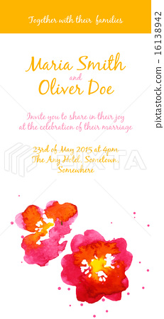 Vector background with red watercolor camellias 16138942