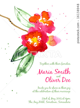 Vector background with red watercolor camellias 16138948