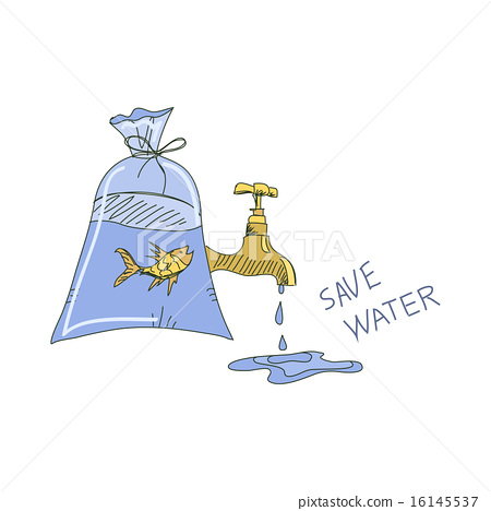 Colored doodle save water concept 16145537
