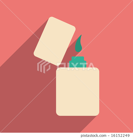 Flat with shadow icon and mobile application lighter 16152249