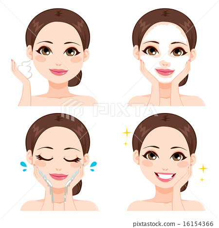 Woman Washing Face Steps 16154366