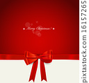 Christmas background. Shiny ribbon on red background. Vector ill 16157265