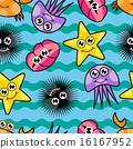 Cartoon seamless pattern with marine life 16167952