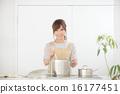 여성, 요리, 주방 16177451