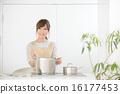 여성, 요리, 부엌 16177453
