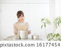 여성, 요리, 주방 16177454