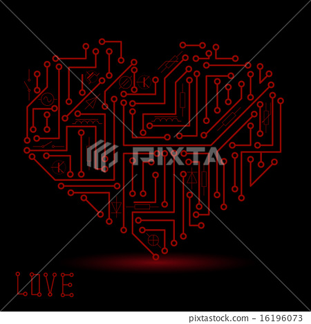 printed red electrical circuit board heart symbol 16196073