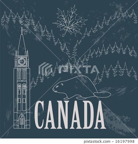 Canada landmarks. Retro styled image 16197998