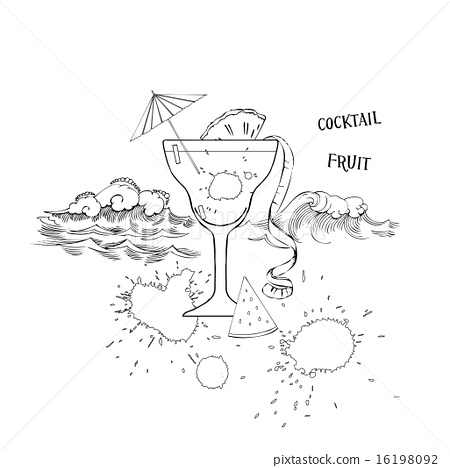 Cocktail glass with fruit 16198092