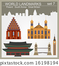 World landmarks icon set 16198194