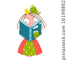 Clever Little Princess Reading Fairy Tale with Prince Frog Sitting on Head 16199862