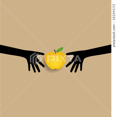 Stock Illustration: Hands and apple, vector illustration.
