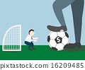 Businessman with football and goalkeeper 16209485