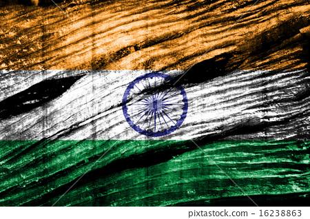 India Flag on old wood 16238863