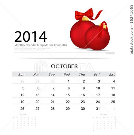 2014 Calendar Monthly Calendar Template For October Christmas