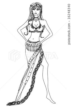 Belly dancer , hand drawn illustration 16248340