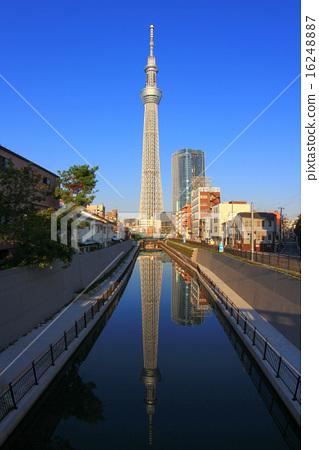 푸른 하늘과 강물에 비치는 도쿄 스카이 트리 16248887