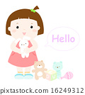 little cute girl hug rabbit doll vector . 16249312