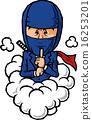 煙で逃げるビジネスマン 16253201