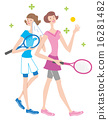 테니스 2 명의 여성 일러스트 16281482