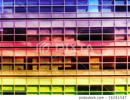 Double exprosure windows Building with colorfull. 16281587