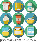 Flat round vector icons for daily products 16282537