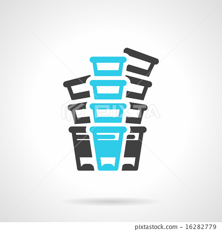 Plastic cups black and blue line vector icon 16282779