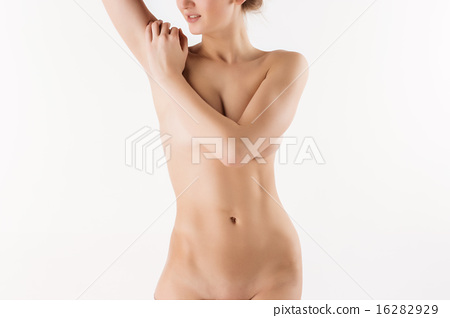 Slim young beautiful girl on the white background 16282929