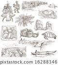 Hawaii - and drawn illustrations on white 16288346