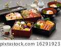 new year dishes, multi-tiered food box, new year's cuisine 16291923