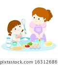 Little daughter cooking with her mother vector 16312686